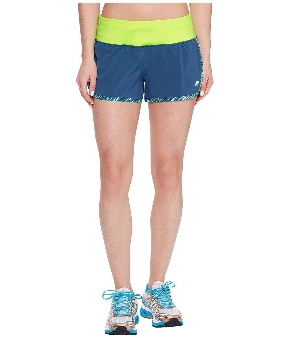 New Balance - Impact 3 Shorts Print (Tornado/Lime Glo) Women's Shorts