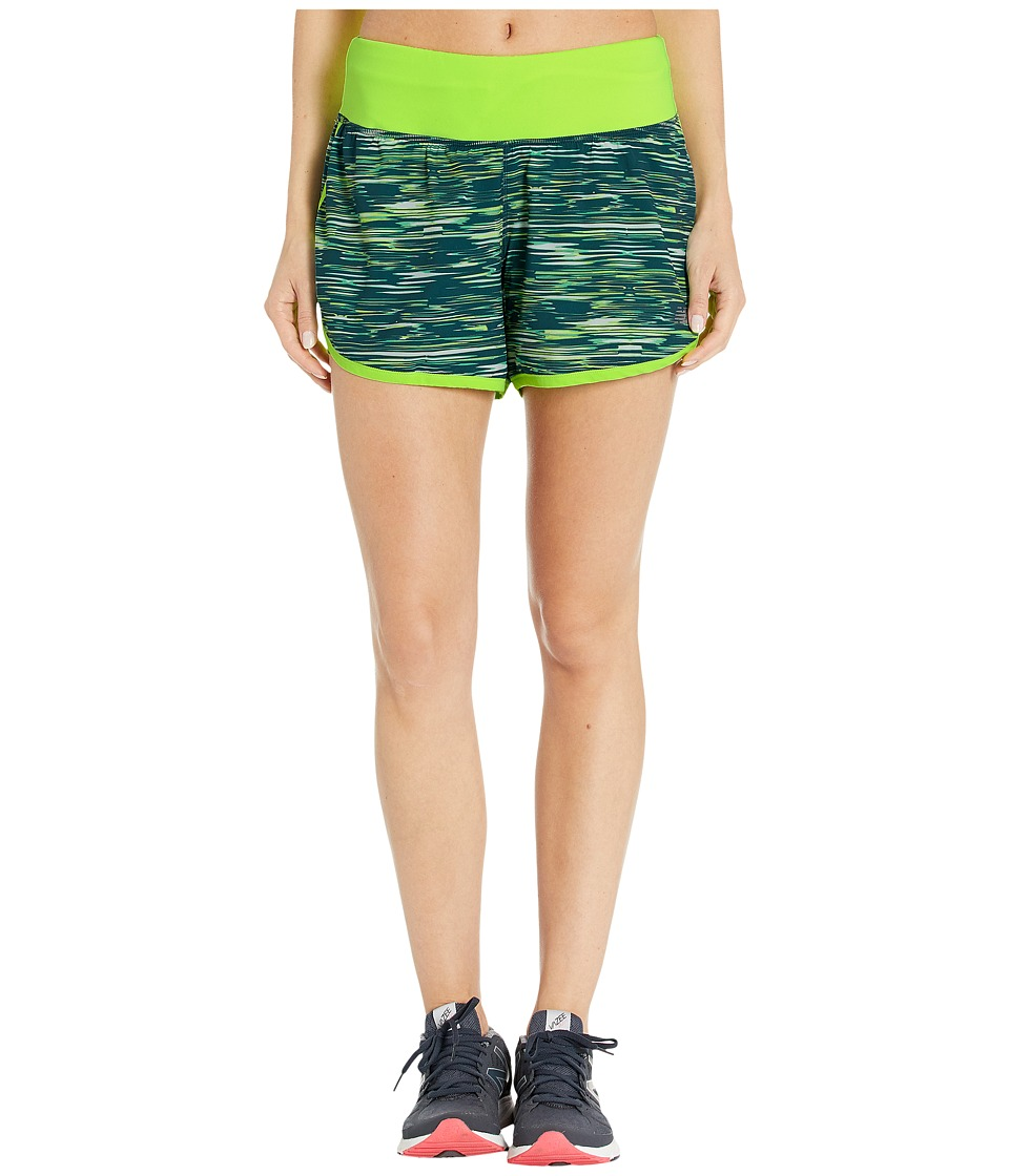 New Balance - Impact 4 2-in-1 Shorts (Tornado Intensity Stripe/Lime Glo) Women's Shorts