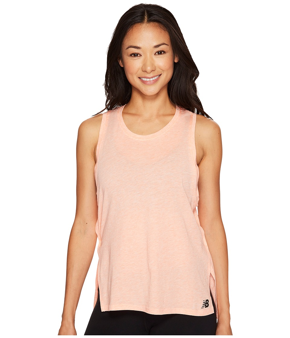 New Balance - Cotton Tank Top (Bleached Sunrise Heather) Women's Sleeveless
