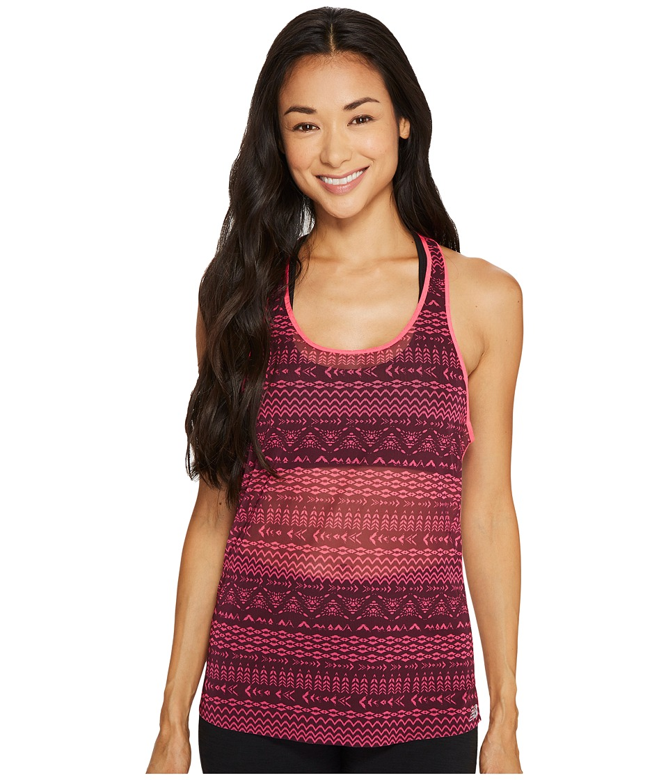 New Balance - Mesh Tank Top (Burgundy Block Stripes) Women's Sleeveless