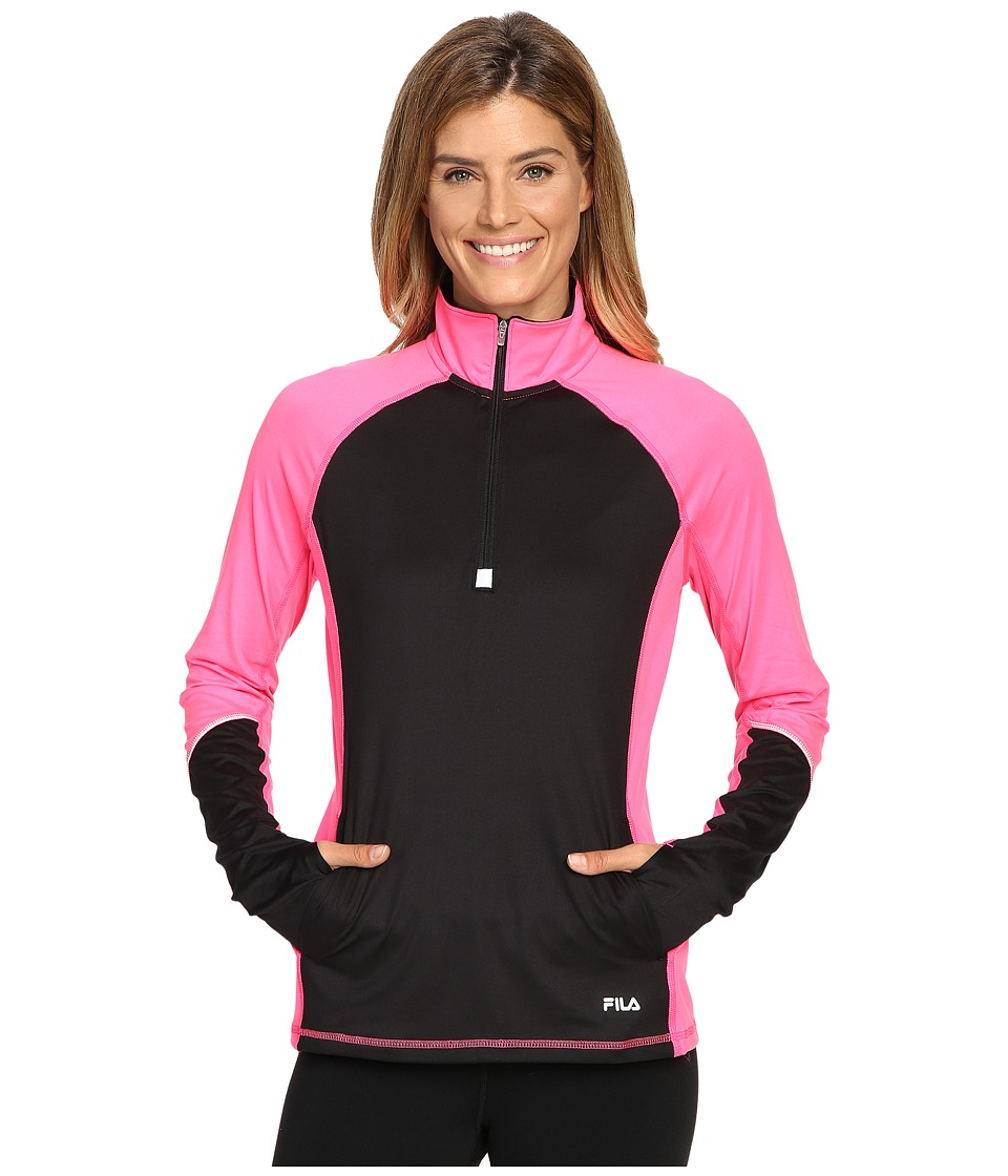 Fila - Odyssey 1/2 Zip Top (Black/Pink Panther) Women's Clothing