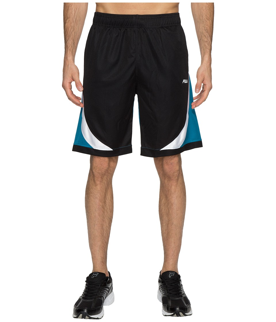 Fila - Action Shorts (Black/Turkish Teal/White) Men's Shorts