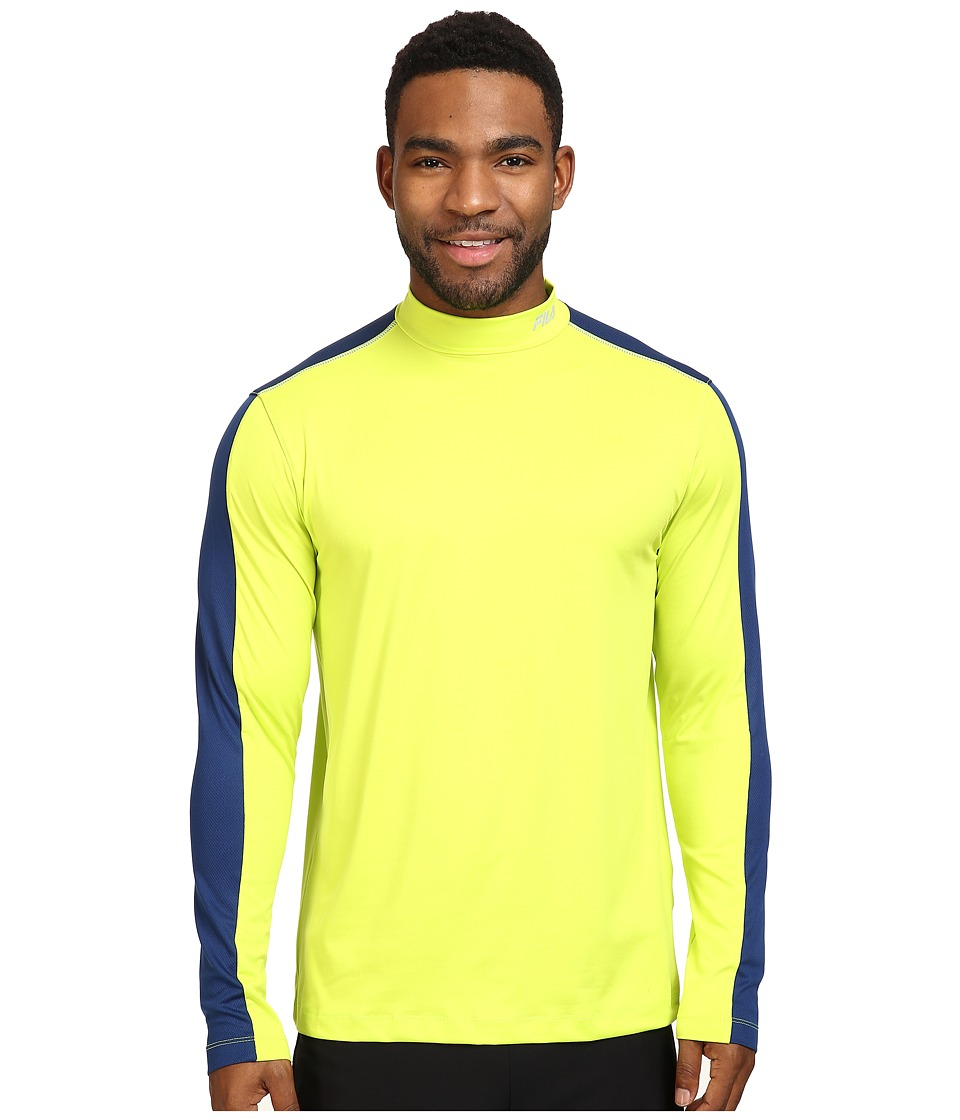 Fila - Base Layer Long Sleeve Top (Lime Punch/Estate Blue) Men's Clothing