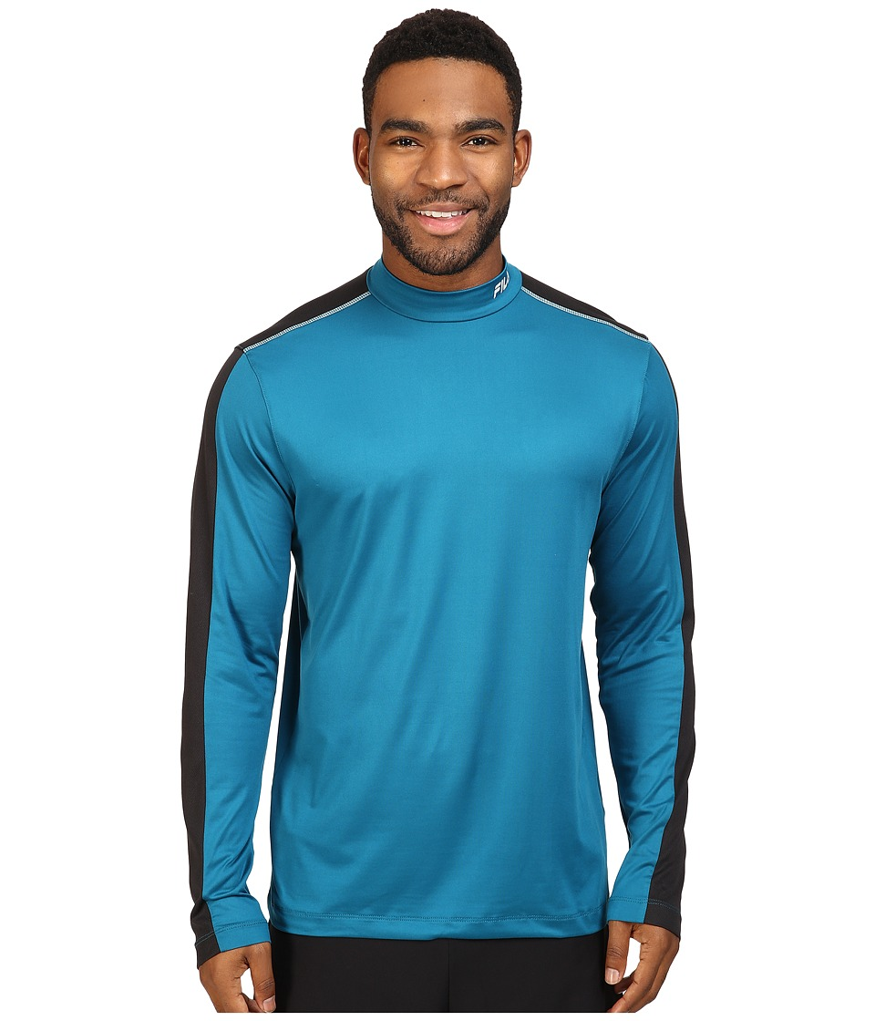 Fila - Base Layer Long Sleeve Top (Turkish Teal/Black) Men's Clothing