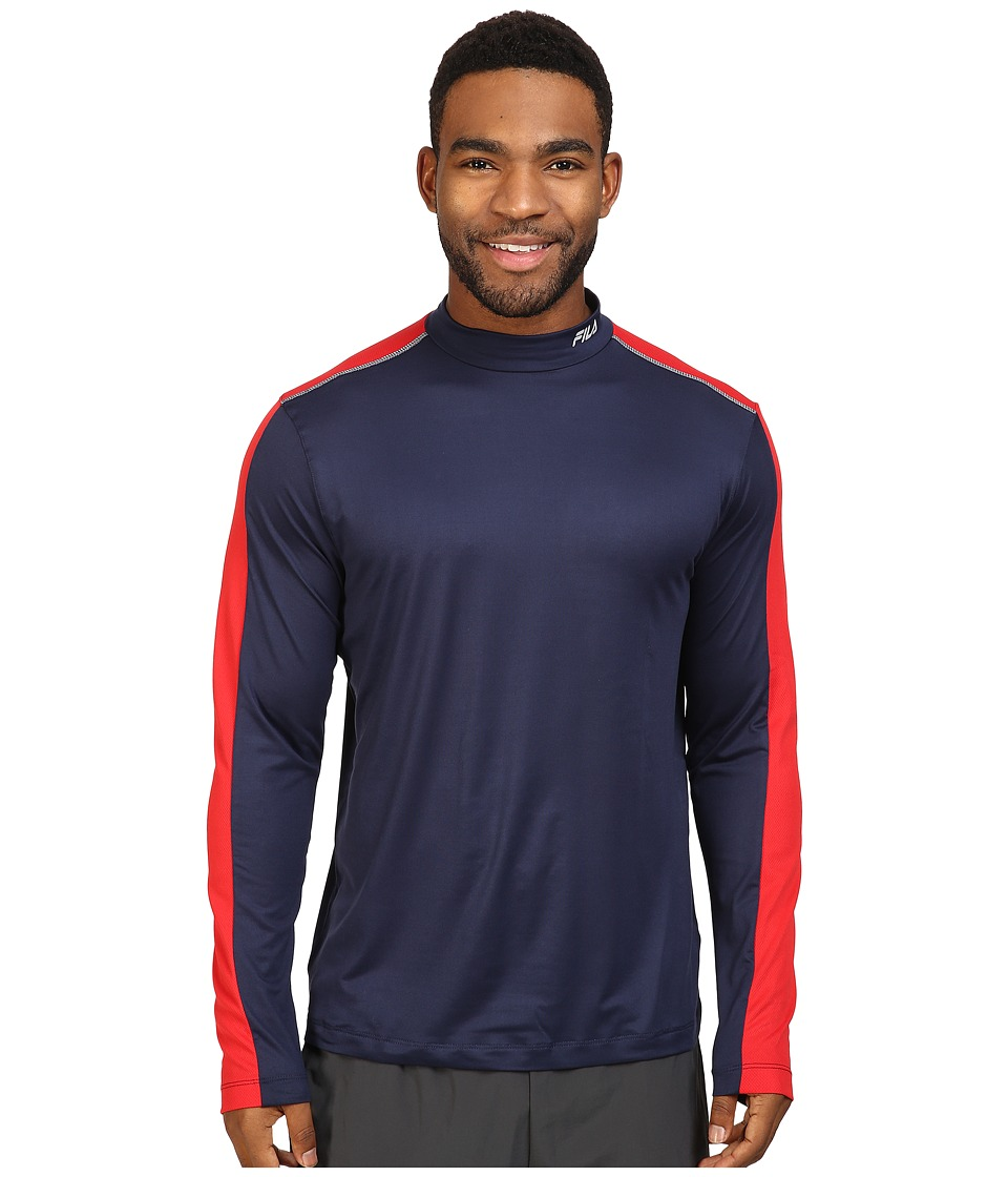 Fila - Base Layer Long Sleeve Top (Navy/Chinese Red) Men's Clothing