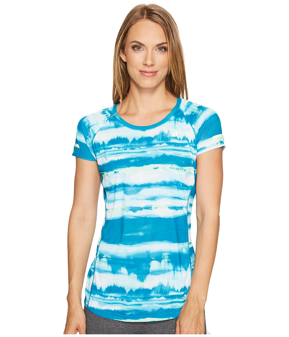 New Balance - NB Ice Short Sleeve Print (Deep Ozone Waves) Women's T Shirt