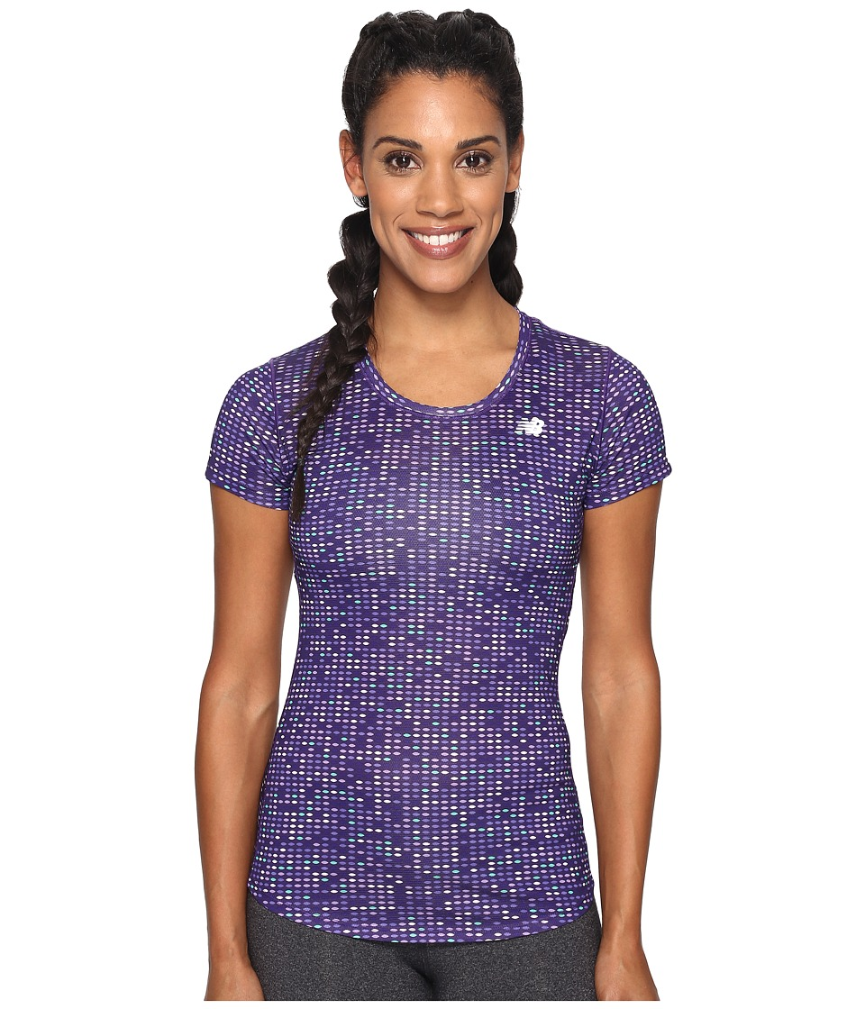 New Balance - Accelerate Short Sleeve Graphic Top (Black Plum Digital Ovals) Women's Short Sleeve Pullover