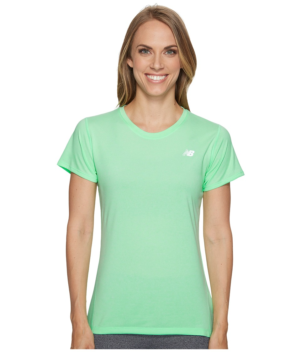 New Balance - Heathered Short Sleeve Tee (Agave Heather) Women's Short Sleeve Pullover