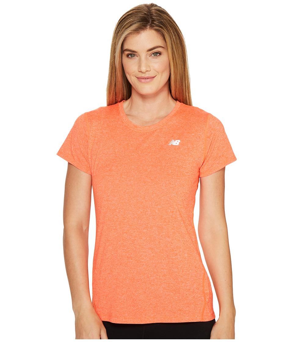 New Balance Heathered Short Sleeve Tee (Alpha Orange Heather) Women