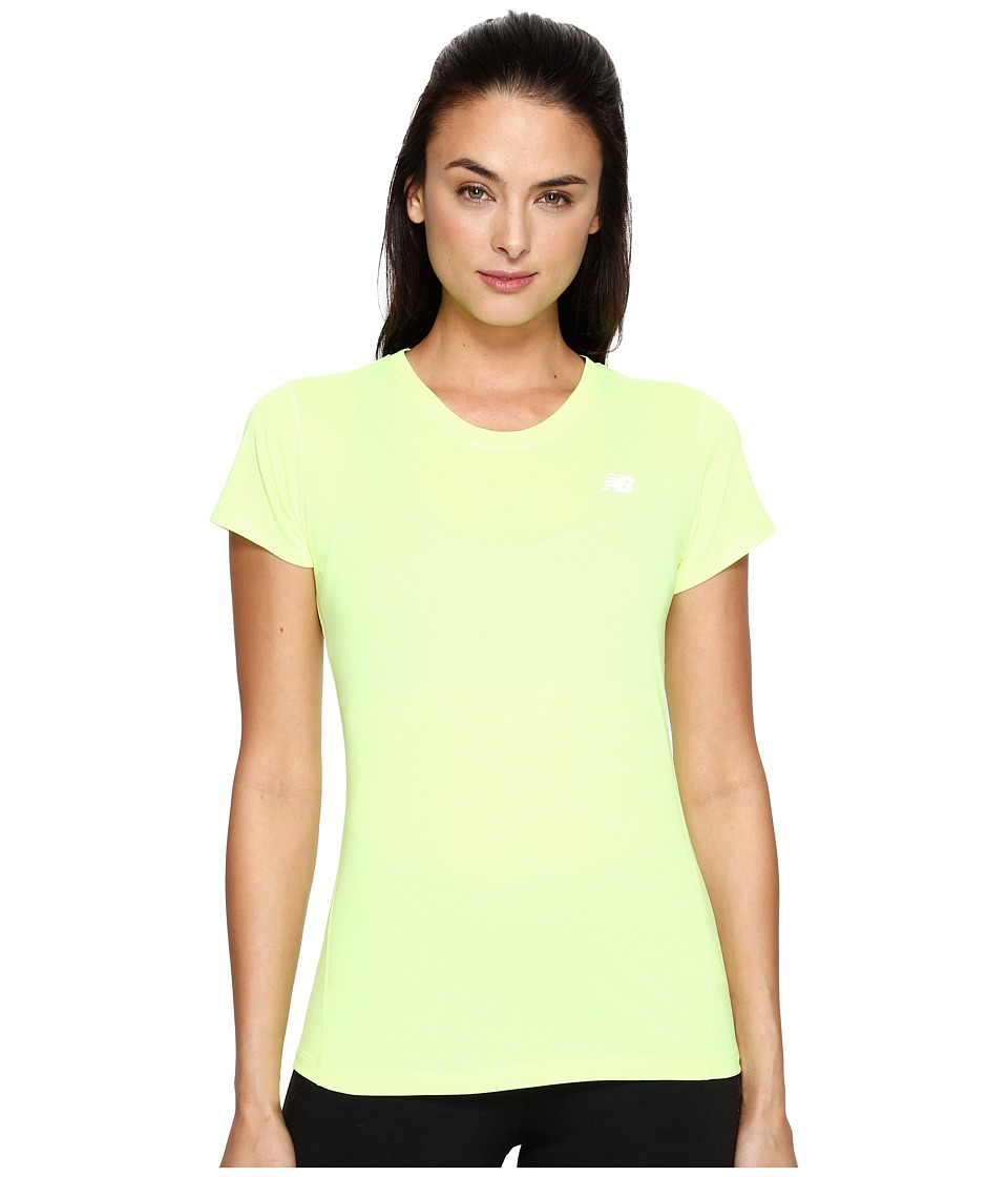 New Balance - Heathered Short Sleeve Tee (Lime Glo Heather) Women's Short Sleeve Pullover