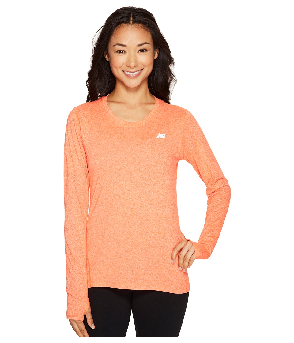 New Balance - Heathered Long Sleeve (Alpha Orange Heather) Women's Long Sleeve Pullover