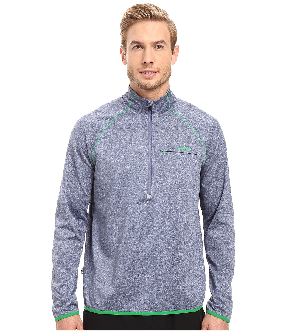 Fila - Strong Point 1/2 Zip (Estate Blue Heather/Fern) Men's Clothing