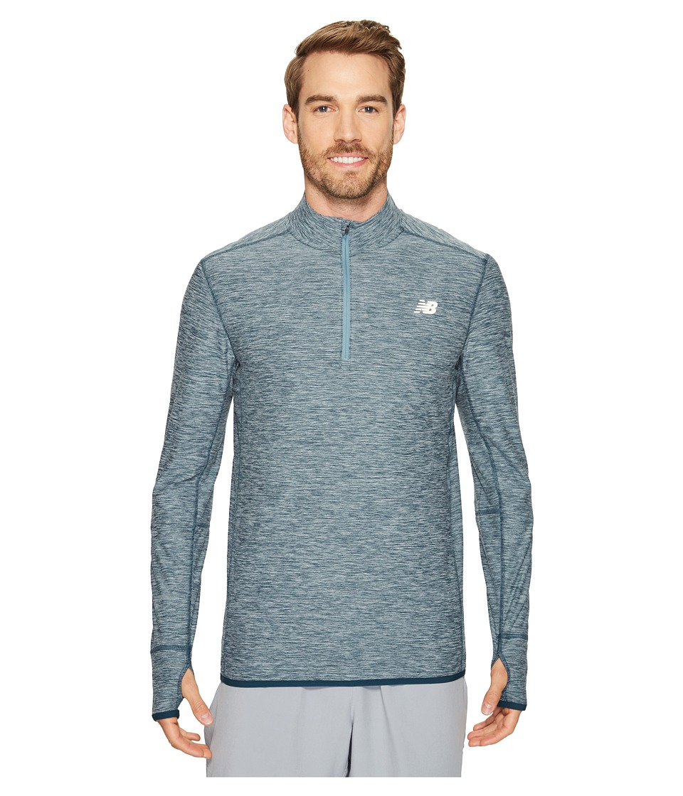 New Balance - Transit 1/4 Zip (Supercell Heather) Men's Clothing