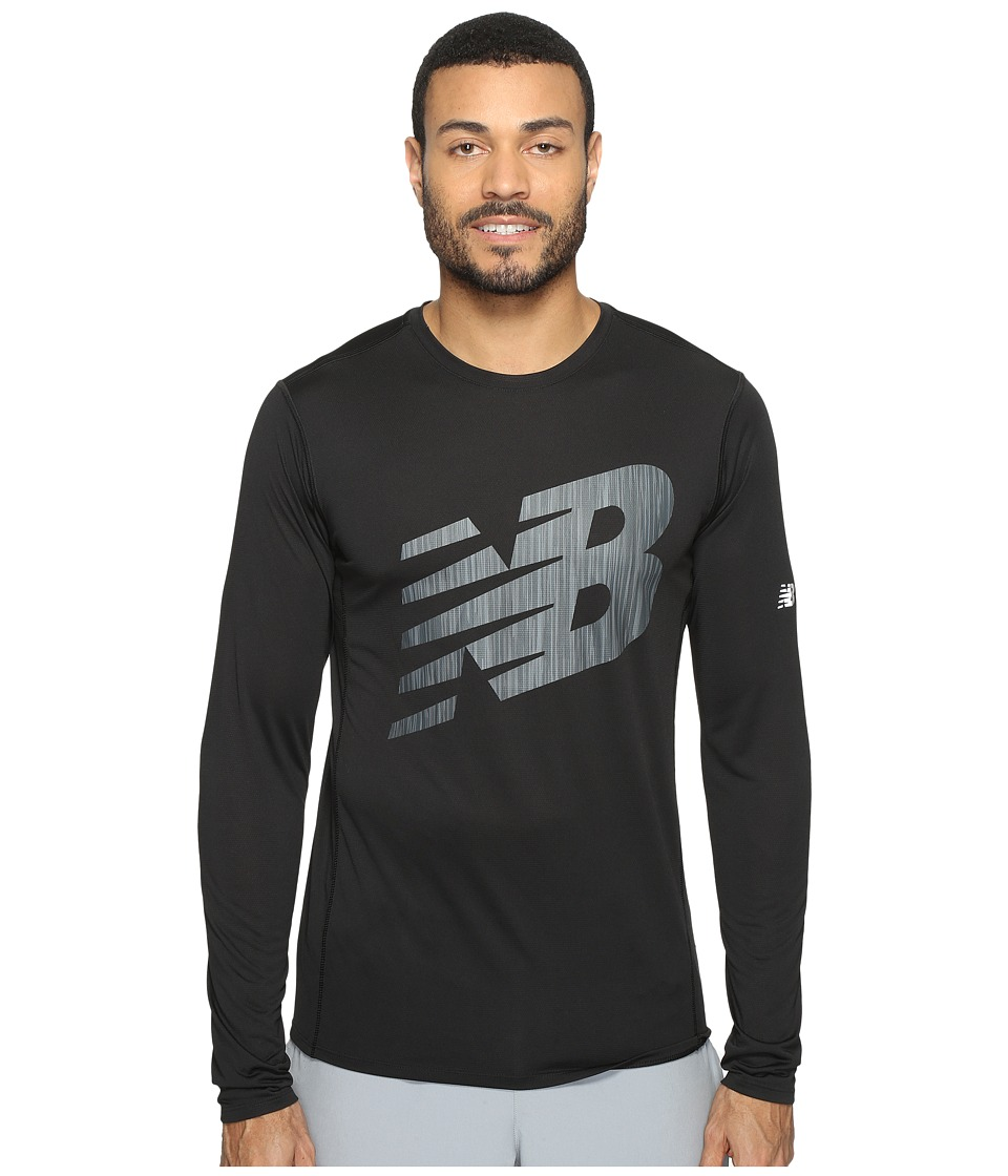 New Balance - Accelerate Long Sleeve Graphic Top (Black) Men's Clothing