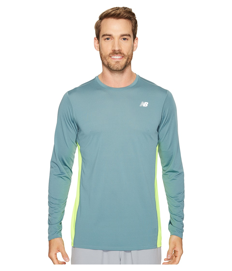 New Balance - Accelerate Long Sleeve (Typhoon/Hi-Lite) Men's Clothing