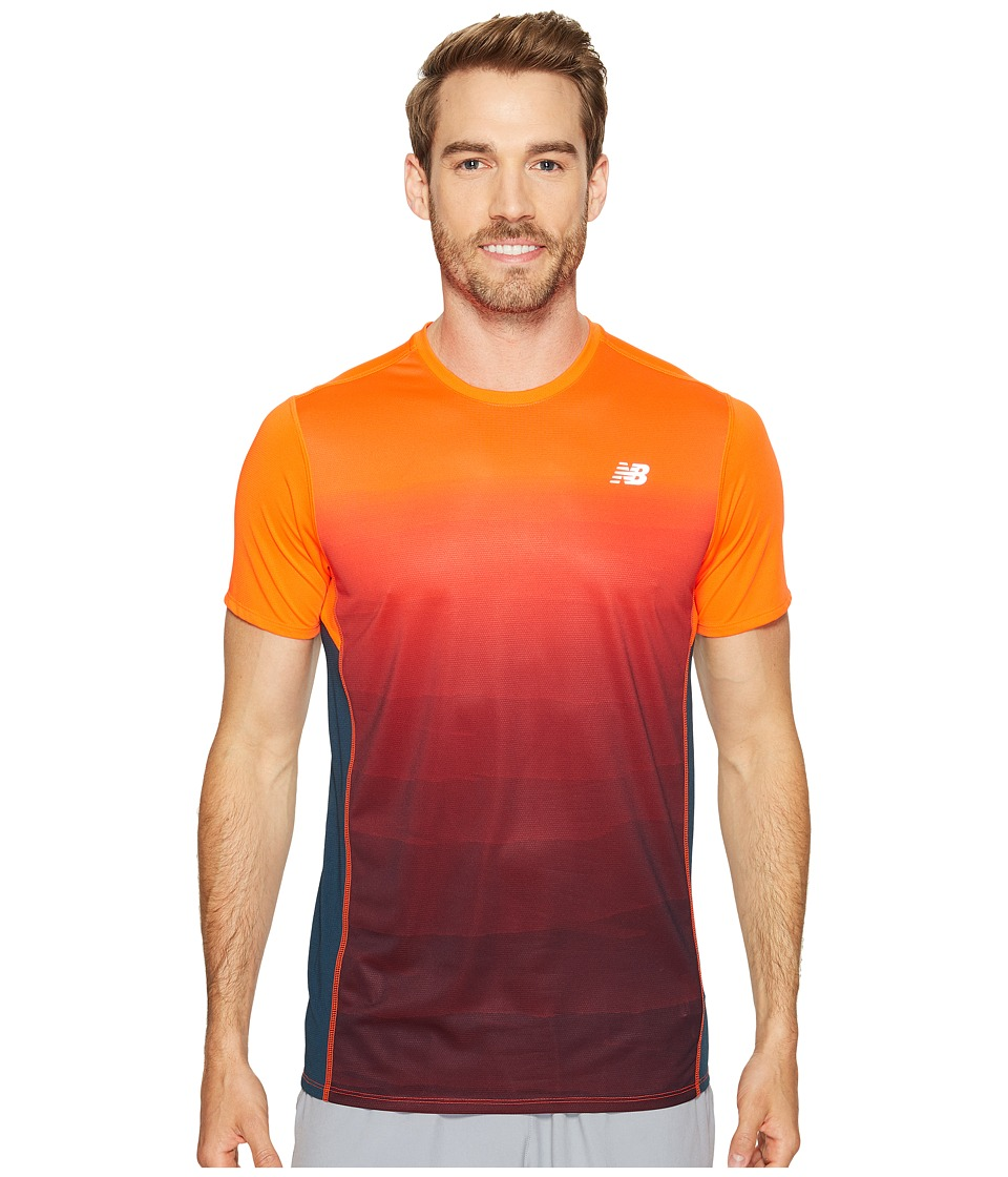 New Balance - Accelerate Short Sleeve Graphic Top (Alpha Orange Print/Supercell) Men's Clothing