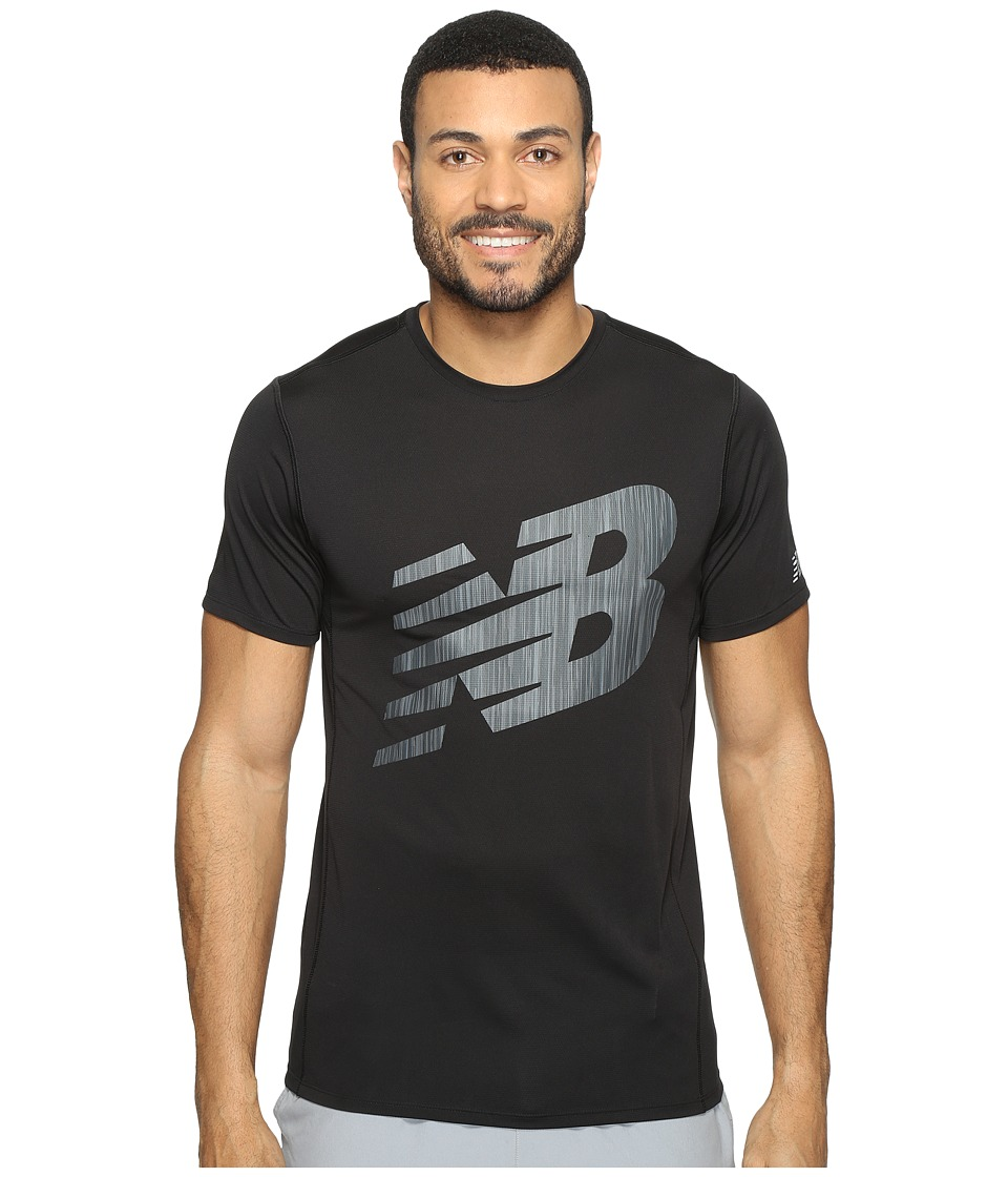 New Balance - Accelerate Short Sleeve Graphic Top (Black) Men's Clothing