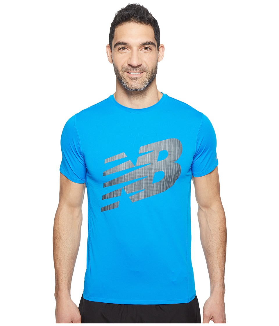 New Balance - Accelerate Short Sleeve Graphic Top (Electric Blue/Black) Men's Clothing