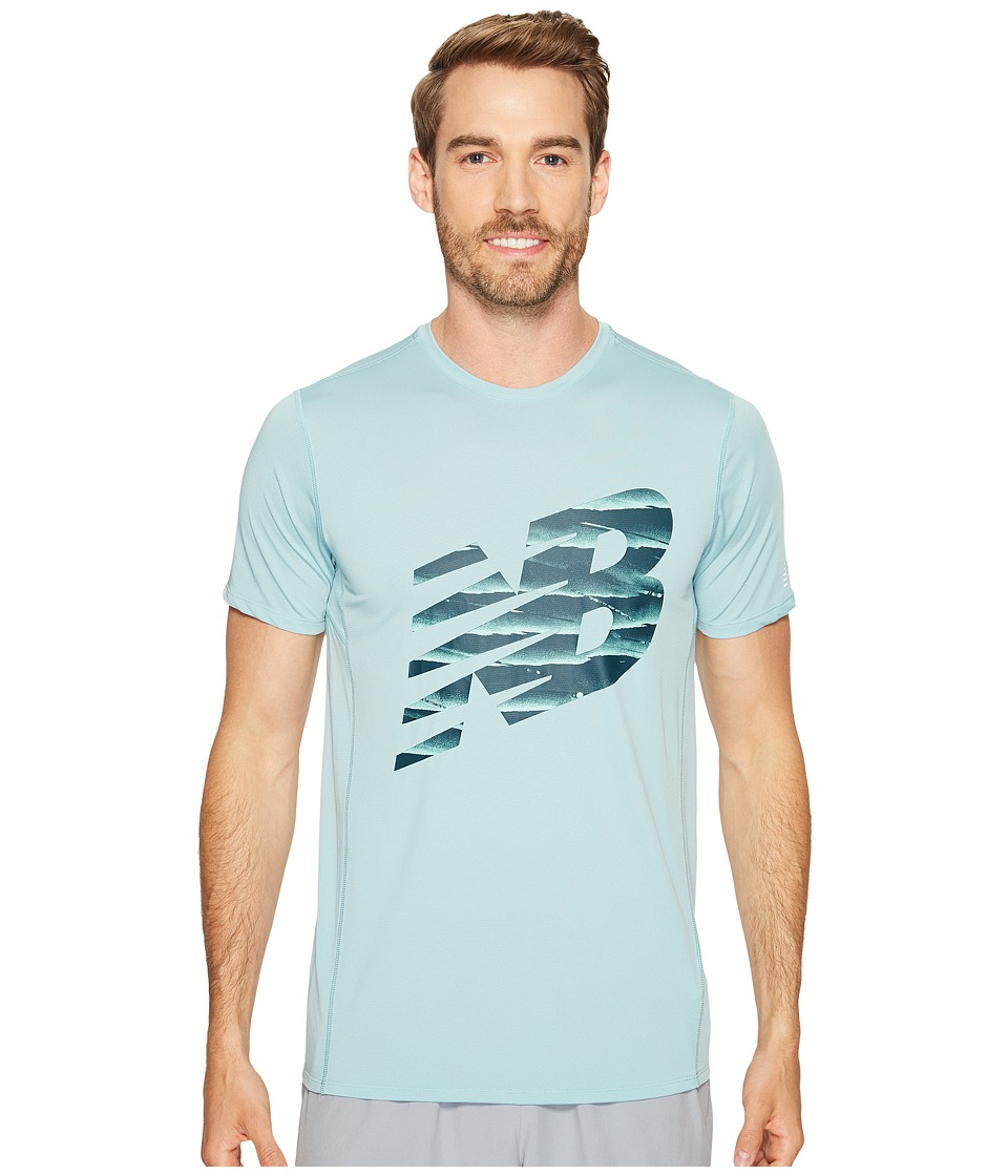 New Balance - Accelerate Short Sleeve Graphic Top (Storm Blue/Black) Men's Clothing