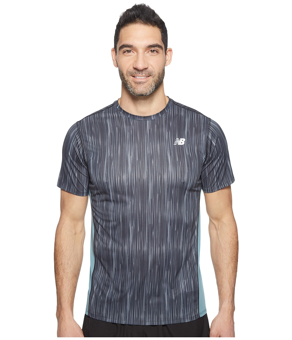 New Balance - Accelerate Short Sleeve Graphic Top (Typhoon Print/Black) Men's Clothing