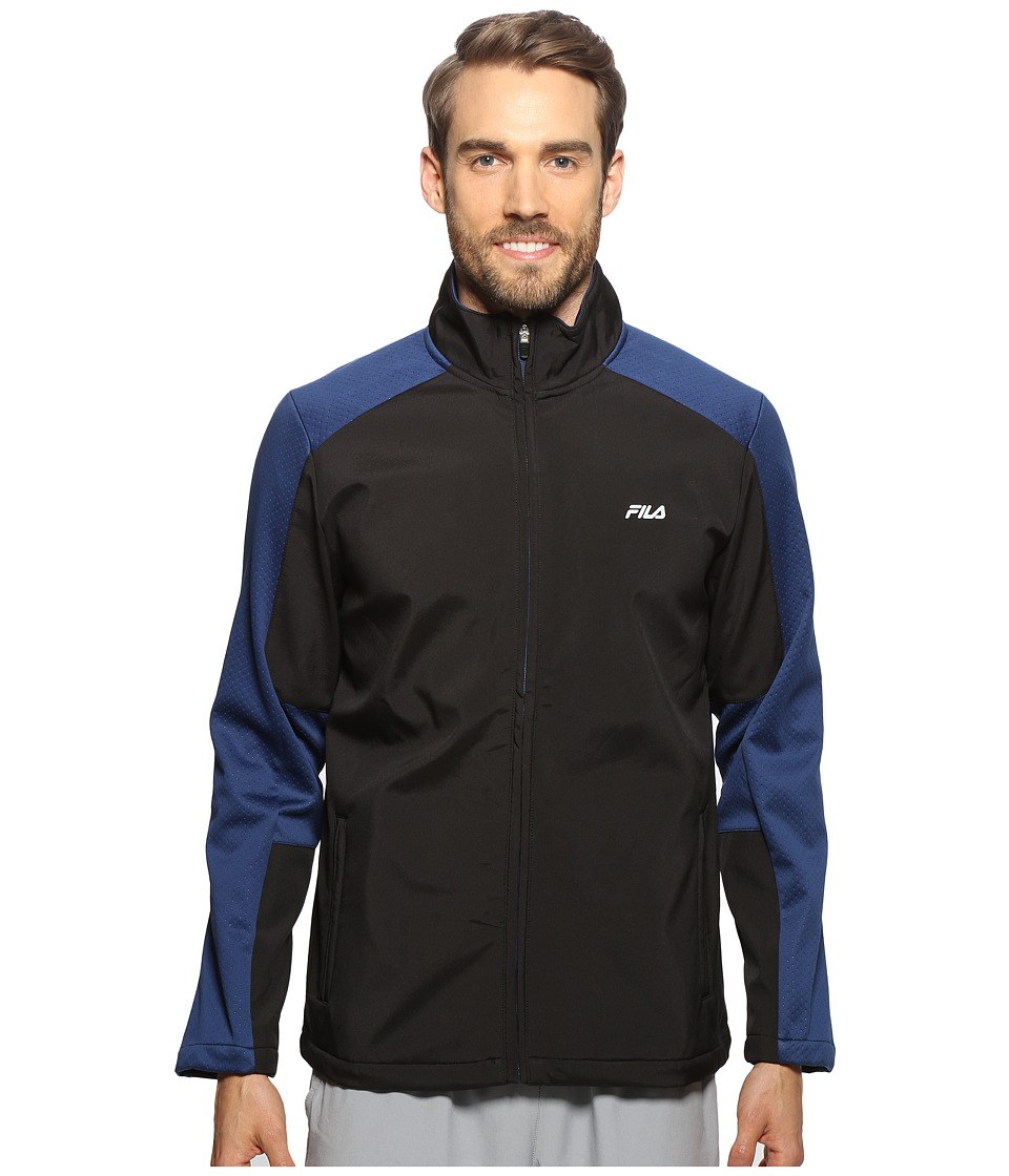 Fila - Smart Bonded Jacket (Black/Estate Blue) Men's Coat