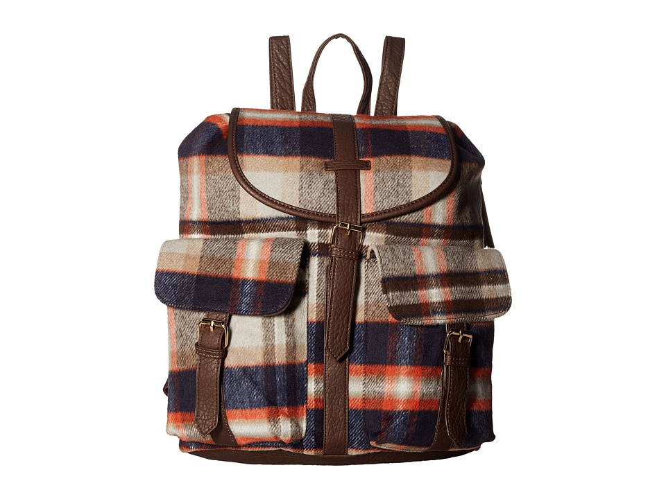 Gabriella Rocha - Ginny Plaid Backpack with Pockets (Chocolate) Backpack Bags