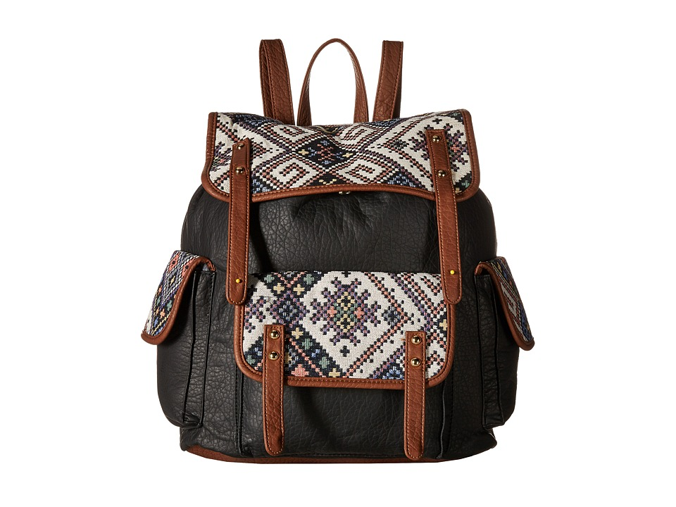 Gabriella Rocha - Lola Tribal Print Backpack with Pocket (Black) Backpack Bags
