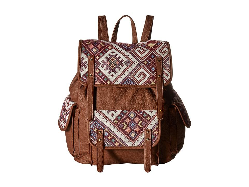 Gabriella Rocha - Lola Tribal Print Backpack with Pocket (Cognac) Backpack Bags