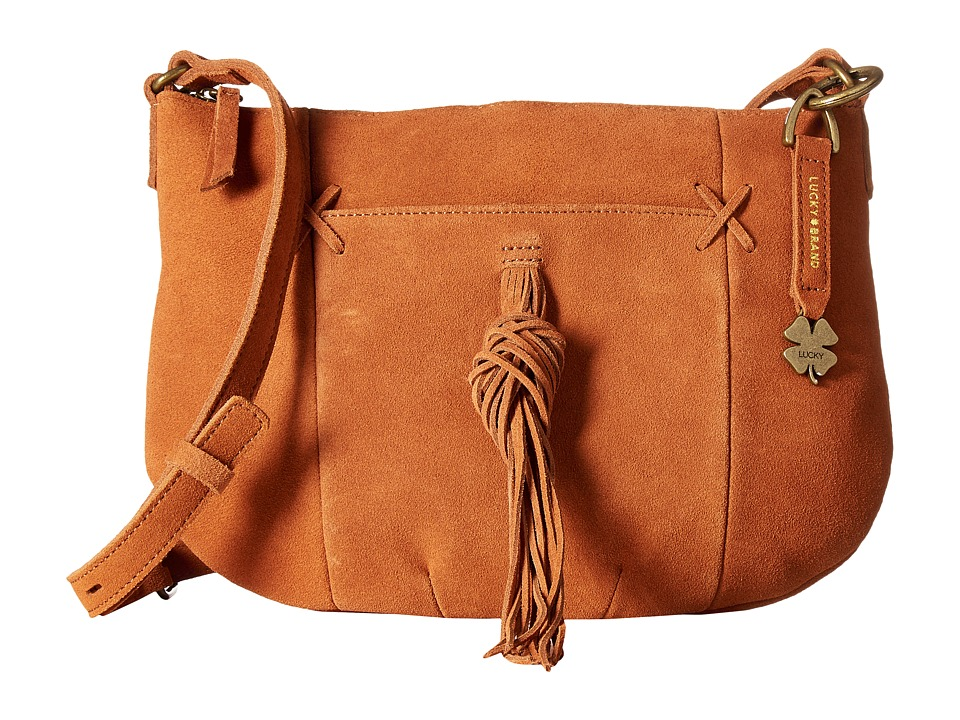 Lucky Brand - Carmen Top Zip Crossbody (Tobacco Suede) Cross Body Handbags