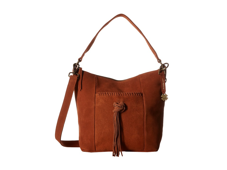 Lucky Brand - Carmen Top Zip Bucket Crossbody (Tobacco Suede) Cross Body Handbags