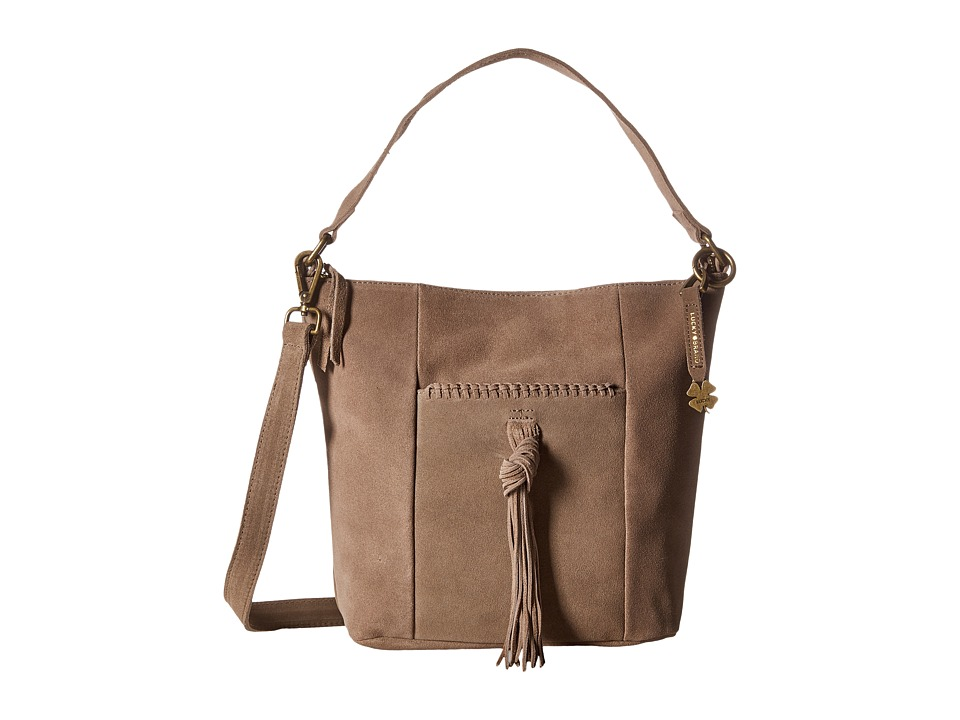 Lucky Brand - Carmen Top Zip Bucket Crossbody (Smoke Suede) Cross Body Handbags
