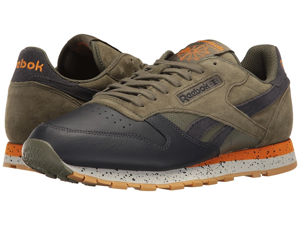 Reebok Lifestyle - Classic Leather SM (Hunter Green/Lead/Bright Orange/Skull Grey/Gum) Men's Shoes