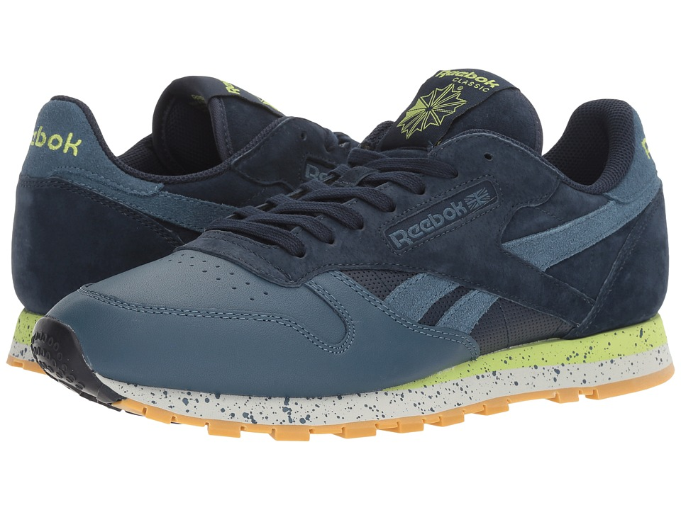 Reebok Lifestyle - Classic Leather SM (Collegiate Navy/Brave Blue/Skull Grey/Kiwi Green/Gum) Men's Shoes