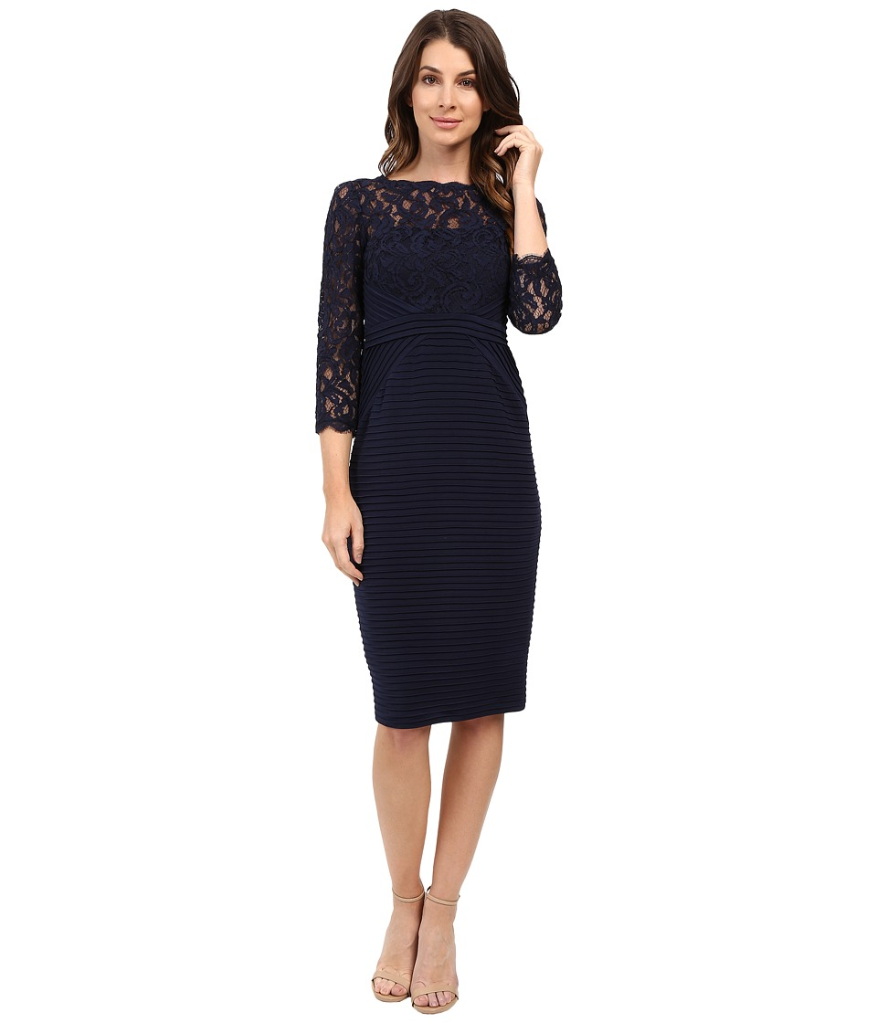 Adrianna Papell Jersey and Lace Cocktail Dress (Midnight) Women