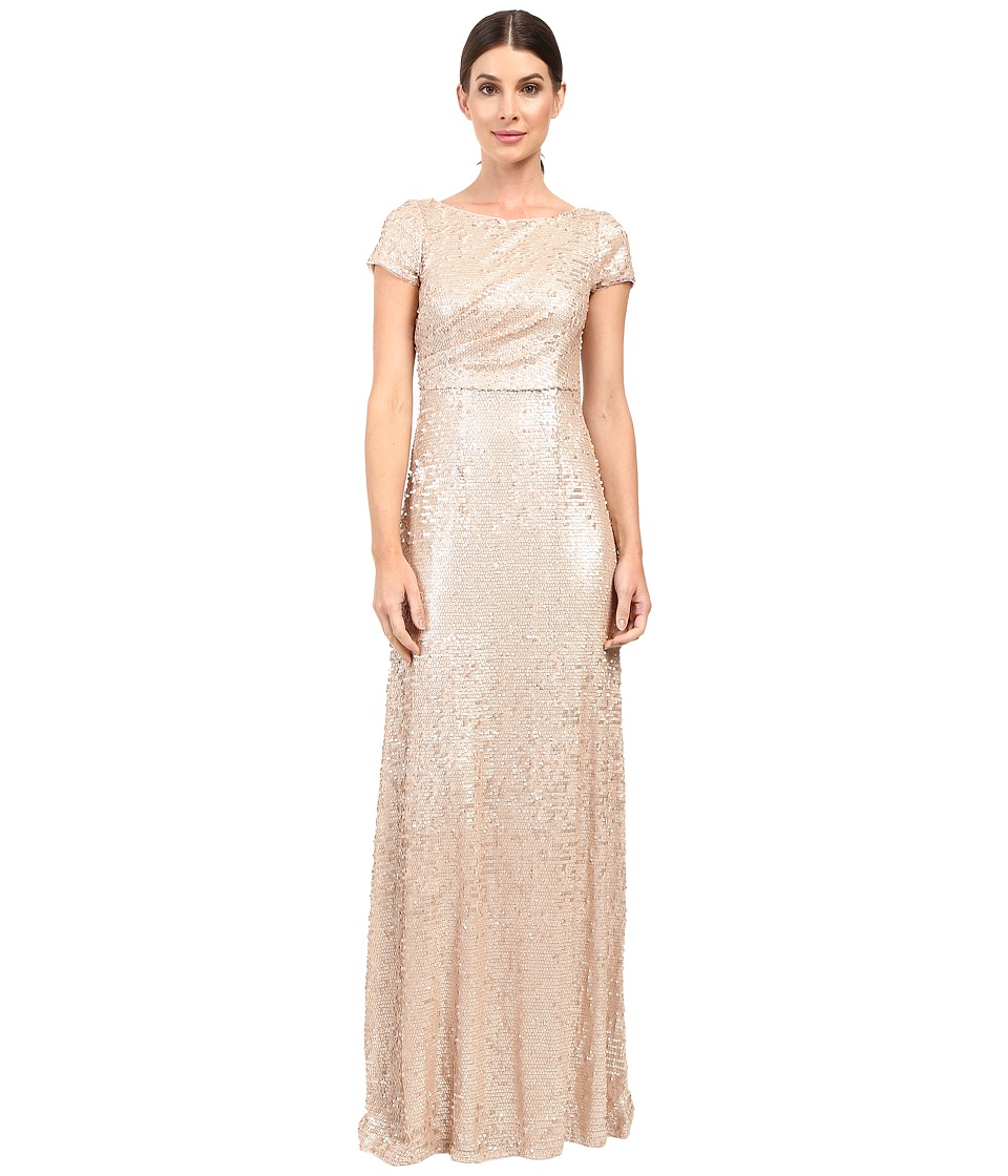 Adrianna Papell - Short Sleeve Sequin Long Dress (Nude) Women's Dress
