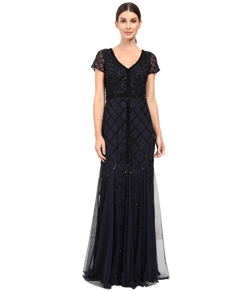 Adrianna Papell Short Sleeve V-Neck Beaded Godet Gown Navy Dress