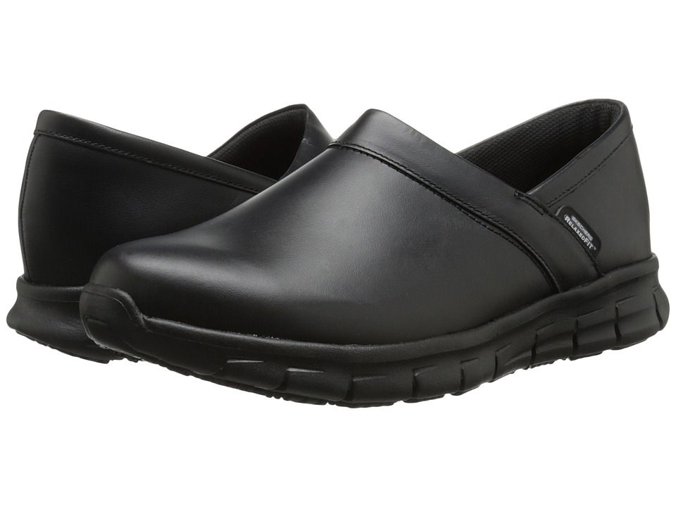 SKECHERS Work - Sure Track - Verteen (Black Leather) Men's Slip on Shoes