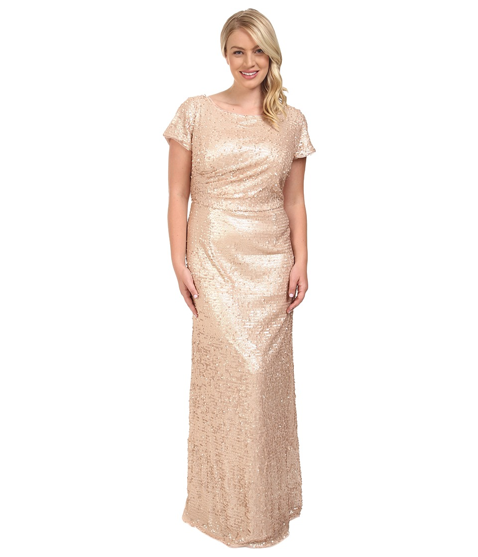 Adrianna Papell - Plus Size Short Sleeve Sequin Long Dress (Nude) Women's Dress