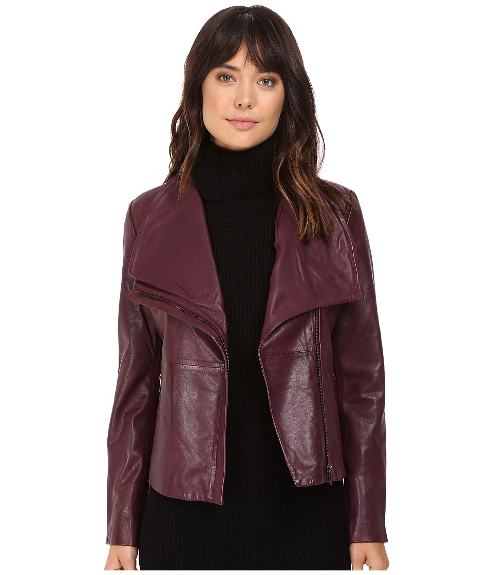 BB Dakota - Newell Washer Leather Jacket (Boysenberry) Women's Coat