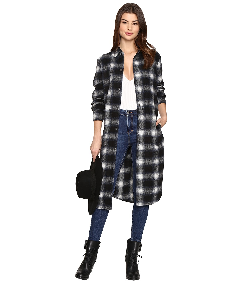 BB Dakota - Rivington Plaid Shirt Coat (Black) Women's Coat