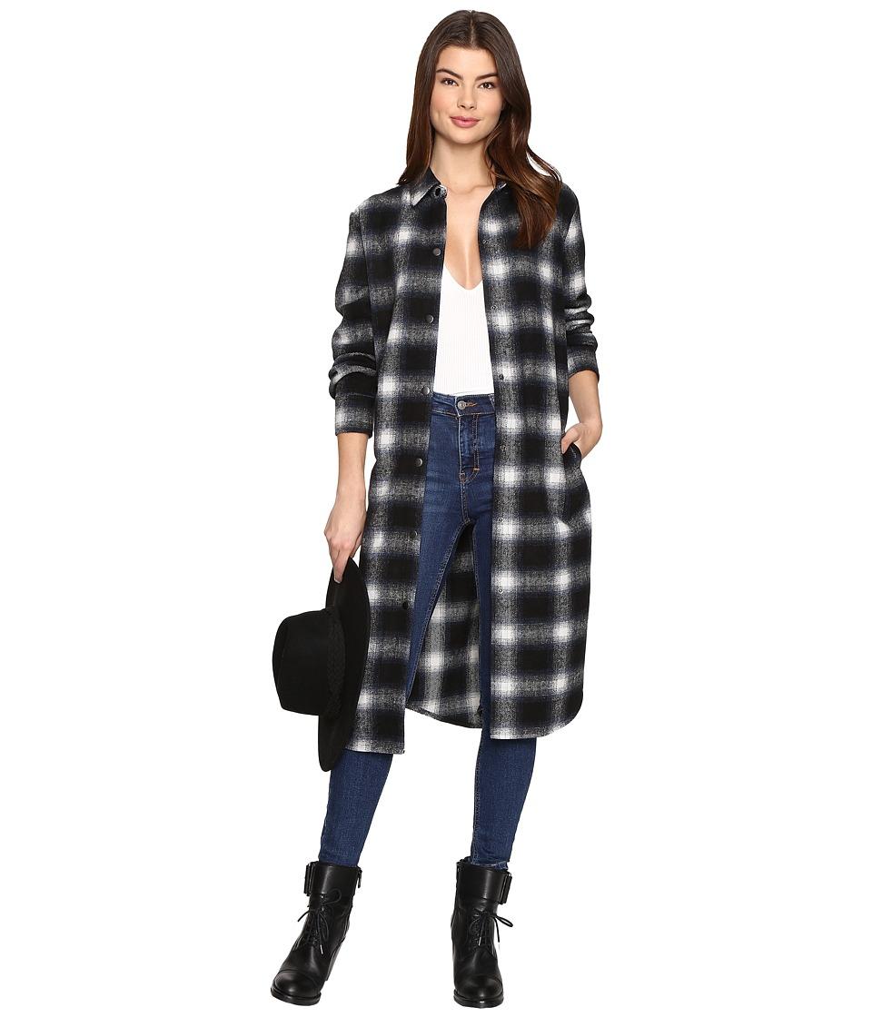 BB Dakota - Rivington Plaid Shirt Coat (Black) Women's Coat