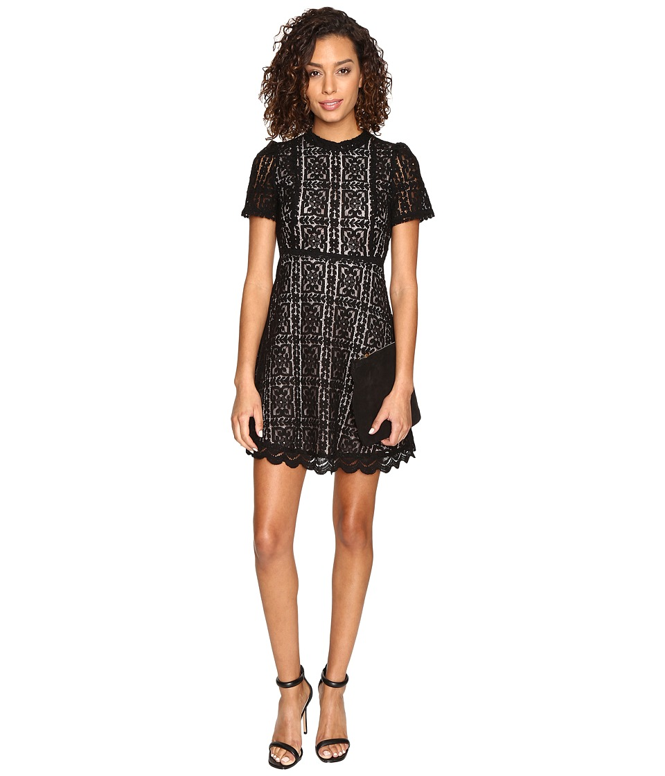 BB Dakota - Adelina Contrast Lace Dress (Black) Women's Dress