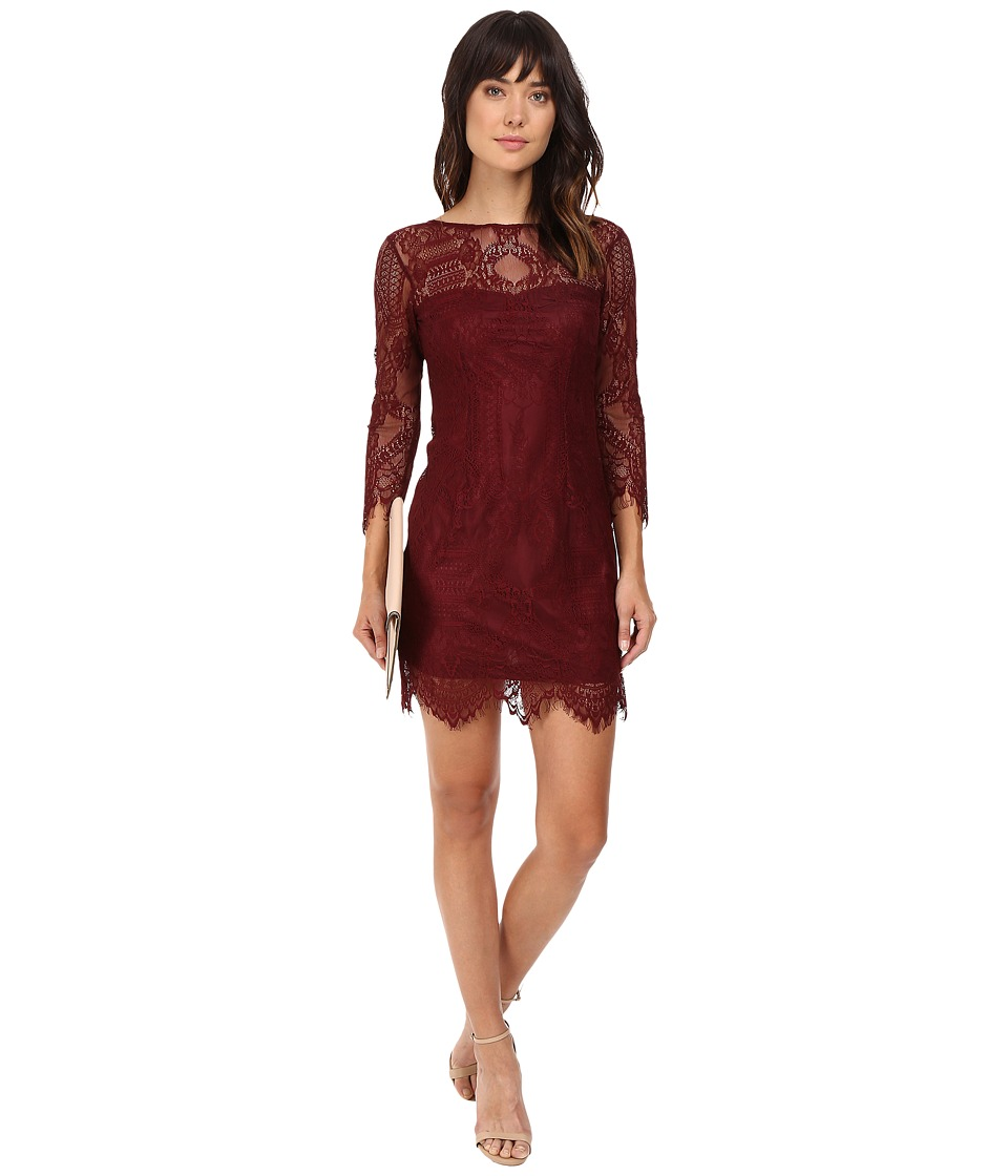BB Dakota Everton V-Back Lace Dress (Bordeaux) Women