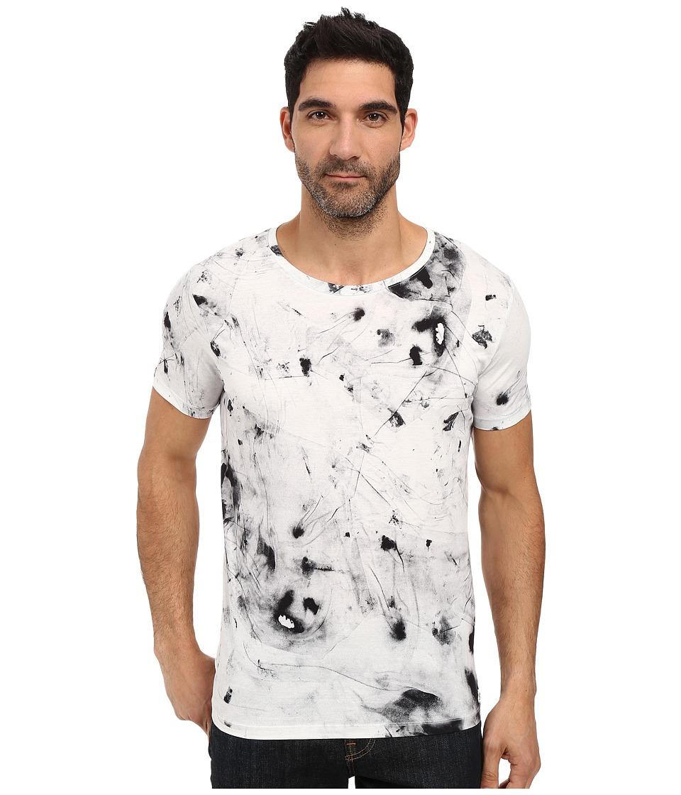 HUGO - Durn Short Sleeve Crew Splotch Dye (White) Men's Clothing
