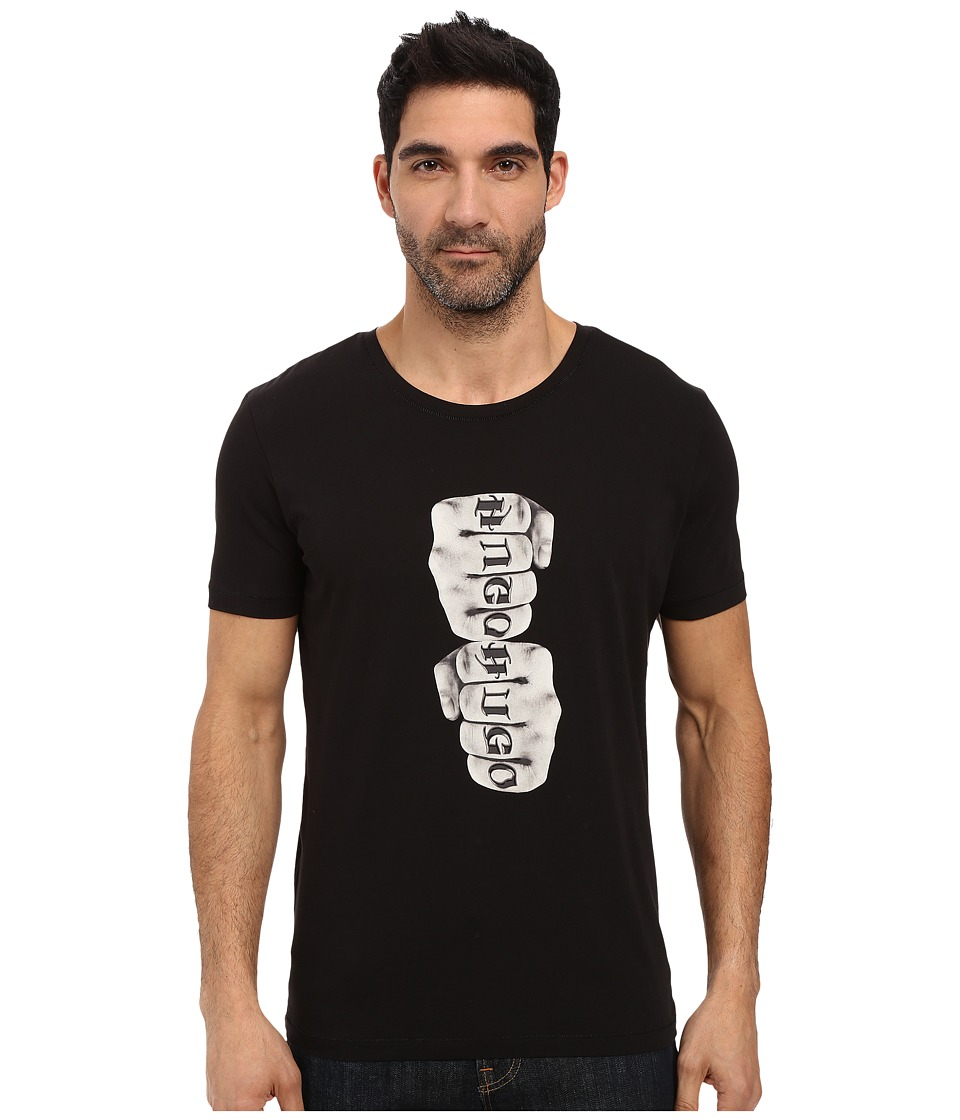 HUGO - Dist Short Sleeve Crew Tattoo Graphic (Black) Men's Clothing