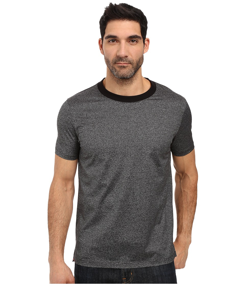 HUGO - Dorenz Short Sleeve Crew Mercerized Fine Stripe (Grey) Men's Clothing