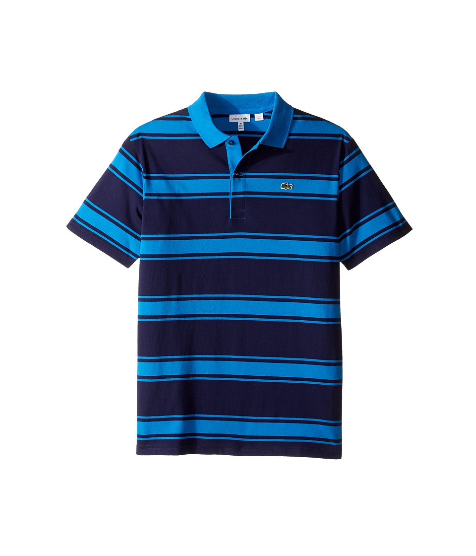 Lacoste Kids - Short Sleeve Stripe Jersey Polo (Infant/Toddler/Little Kids/Big Kids) (Aquatic/West Indies) Boy's Short Sleeve Pullover