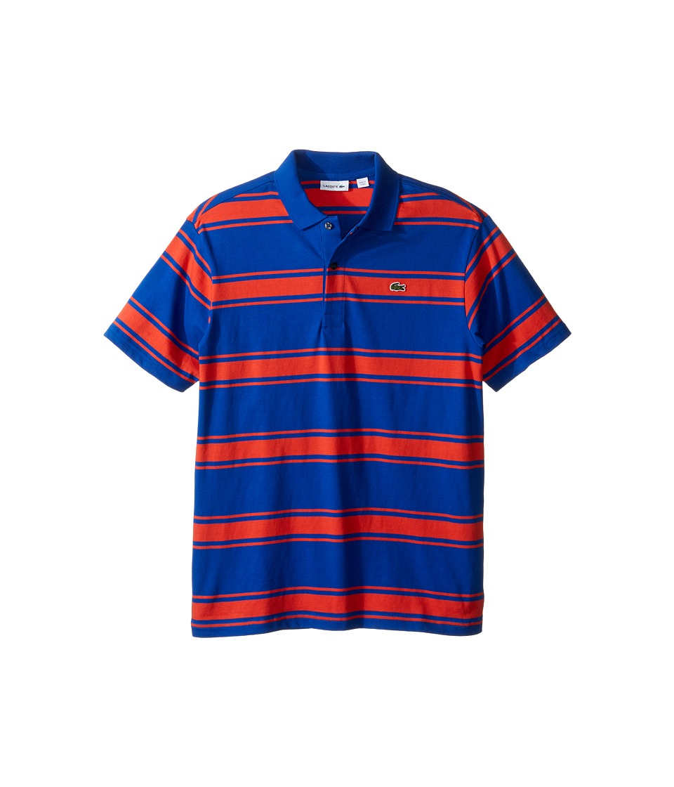 Lacoste Kids - Short Sleeve Stripe Jersey Polo (Infant/Toddler/Little Kids/Big Kids) (Corvette/Fusion) Boy's Short Sleeve Pullover