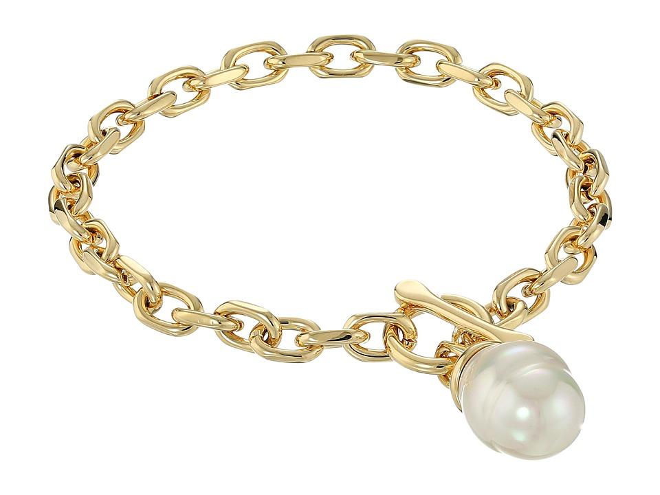Majorica - Modern Metal Gold Bracelet (White) Bracelet