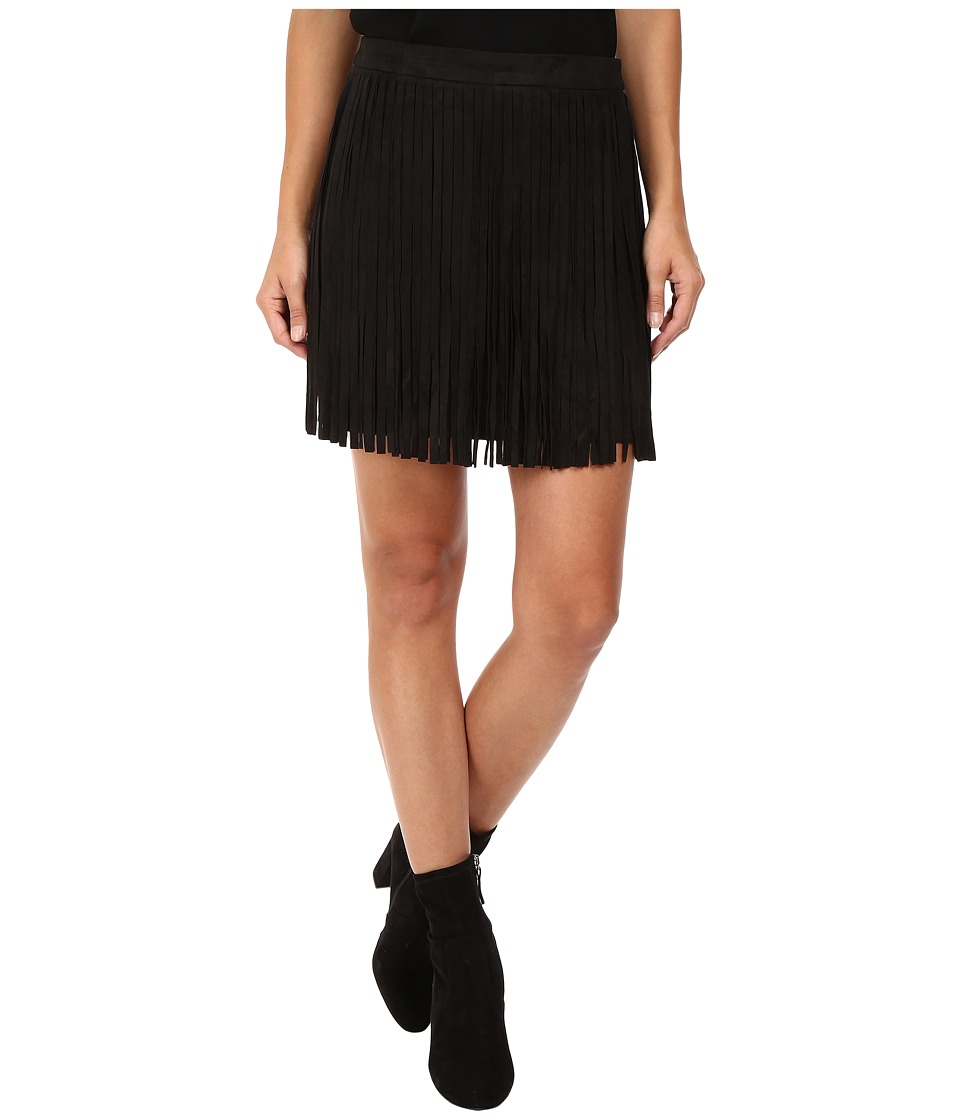 BB Dakota - Barton Faux Suede Finge Skirt (Black) Women's Skirt
